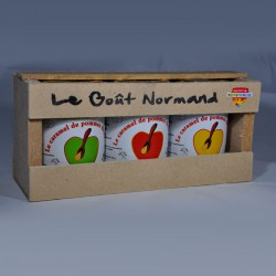 Coffret de 3 pots de 110gr de caramel de pommes dieppois parfum nature, cannelle et  beurre salé.