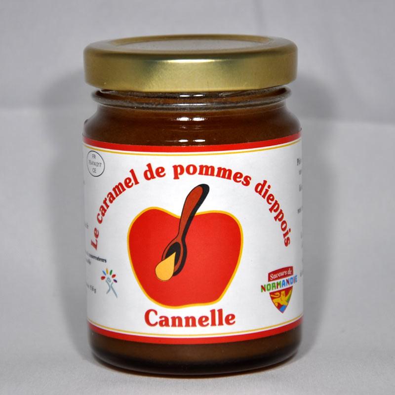 Pot de 110gr de caramel de pommes dieppois parfum cannelle.